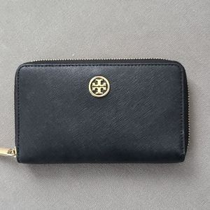 Tory Burch black and gold wallet